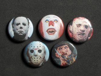 Horror Icon Pin-On Punk Buttons - Set of 5 by MrCadavero
