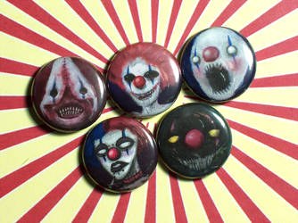 Clown Pin-On Punk Buttons A - Set of 5 by MrCadavero