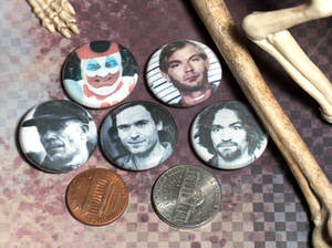 Serial Killer Pin-On Punk Buttons - Set of 5