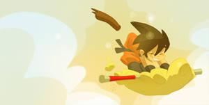 Goku catchin cloud