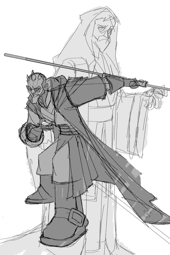 Darth Maul and Obi Wan Kenobi by cheeks-74