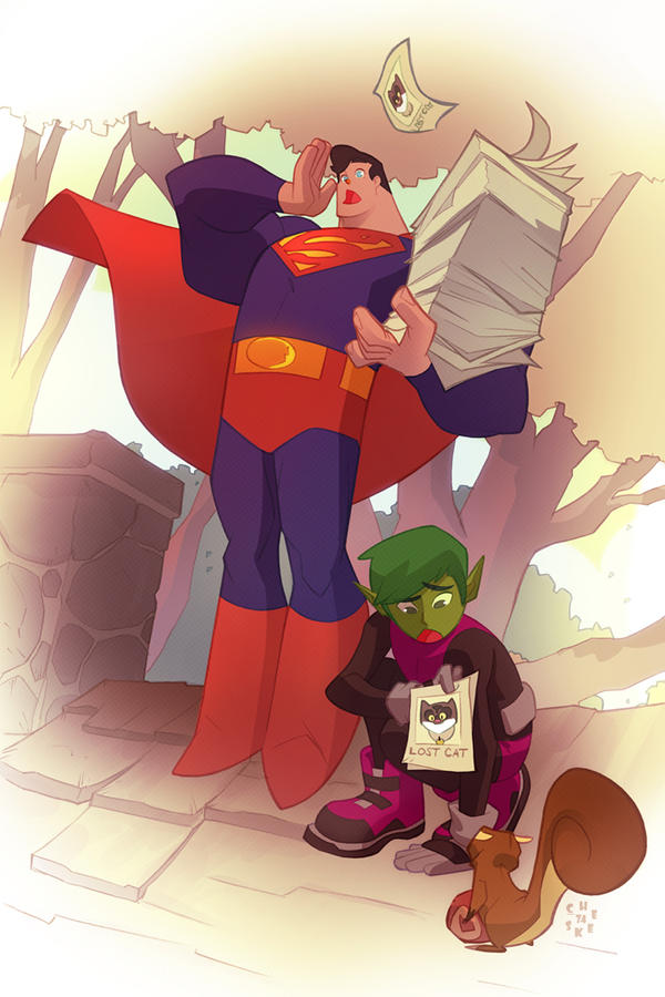 Beastboy and Superman in Neko-Neko Caper! by cheeks-74