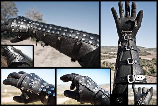 Black Rawhide Gauntlets