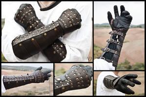 Dark Brown Rawhide Gauntlets