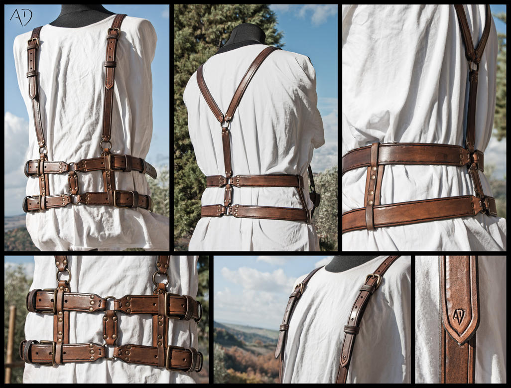 Dark Brown Leather Harness by Adhras