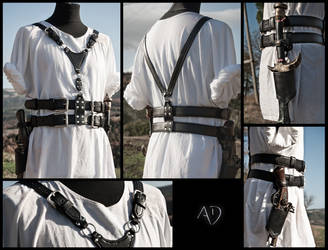 Black leather Harness + Weapon Holsters by Adhras