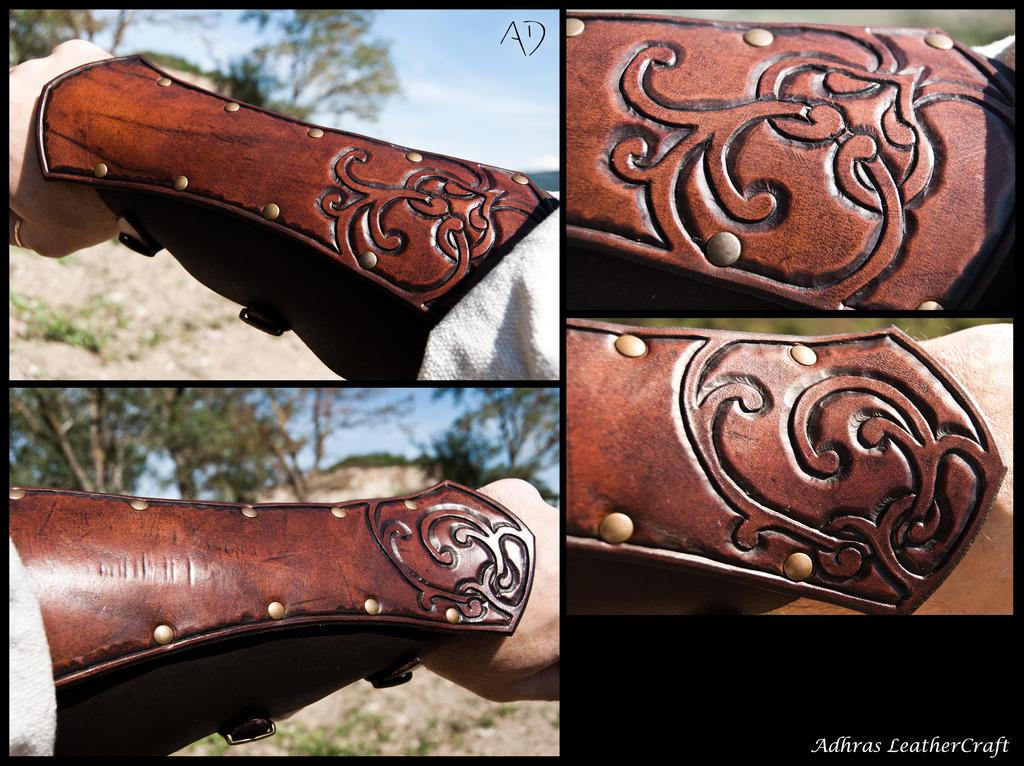 Renaissance Style Bracers - Dark Brown Version by Adhras