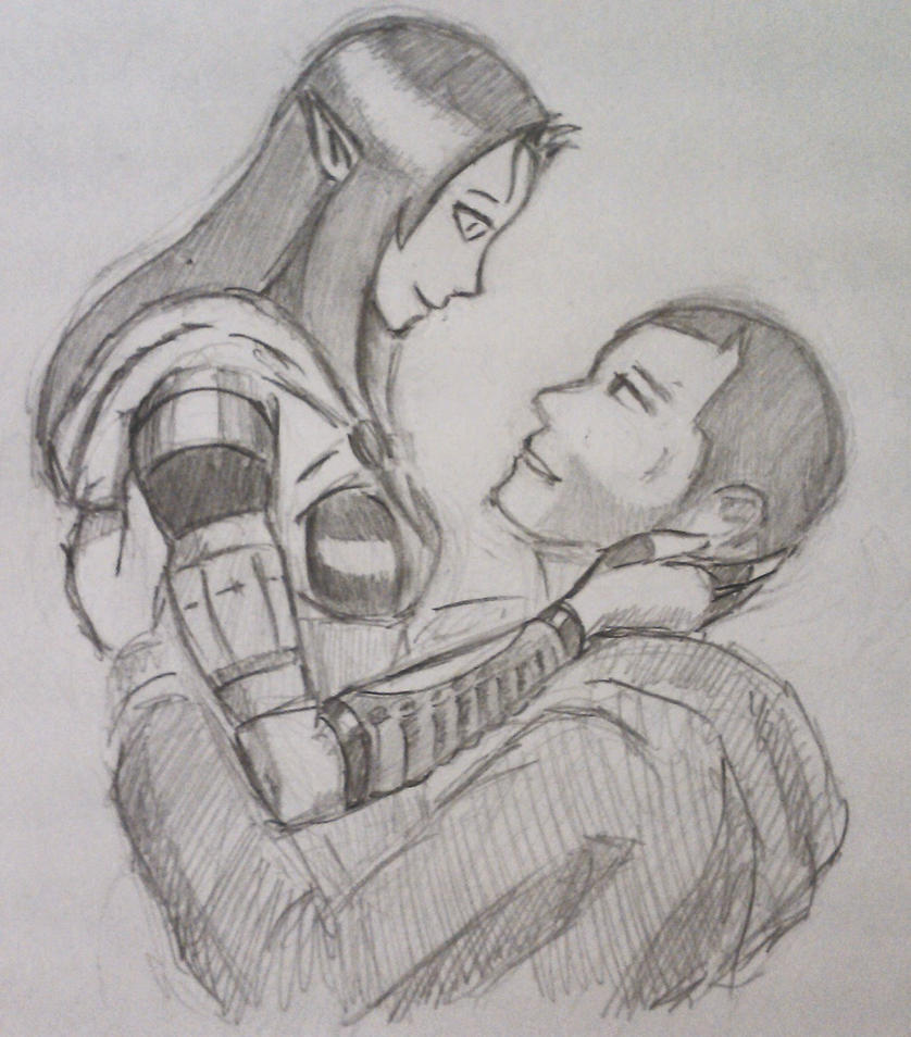 Tali x Shepard (4) by spaceMAXmarine