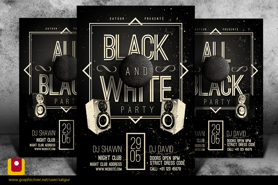 Black And White Party Flyer Template PSD By Satgur On DeviantArt - Black and white flyer template free