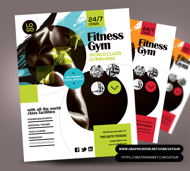 Elegant Fitness Flyer / Gym Flyer PSD Template By Satgur ... Idea Free Fitness Flyer Templates