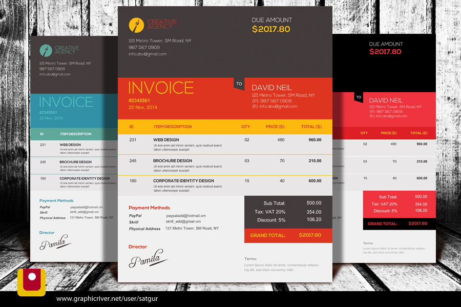 Professional Invoice Template PSD by satgur