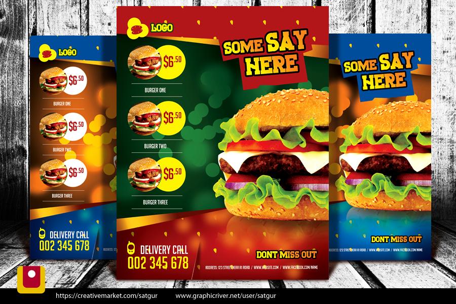 Burger Flyer Template PSD by satgur