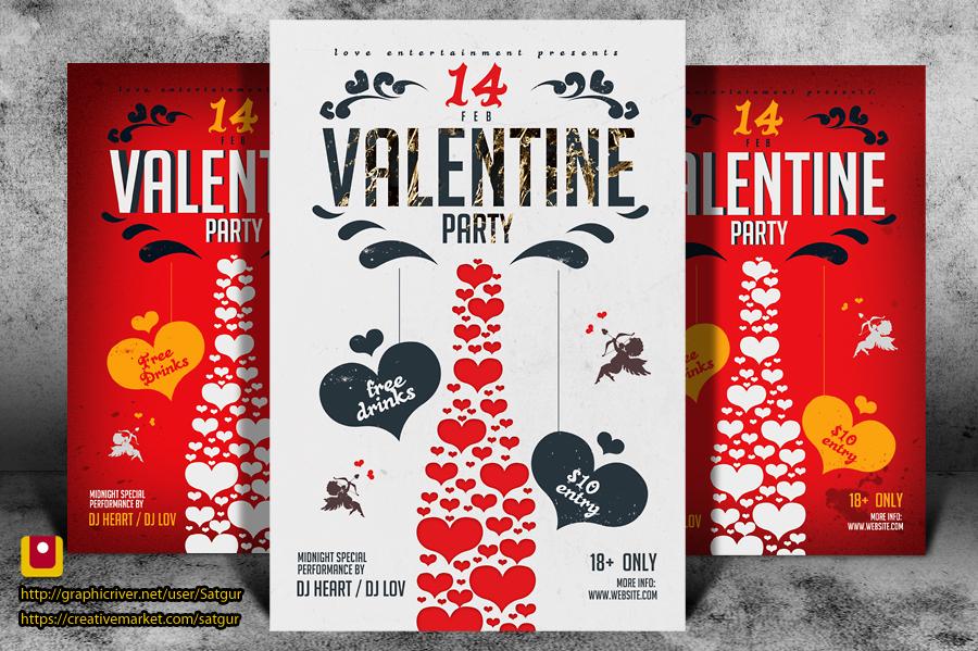 Valentine's Day Party Flyer by satgur