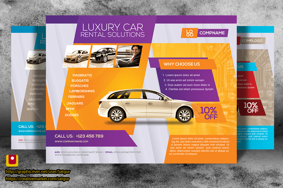Rent a car business promotion flyer by satgur