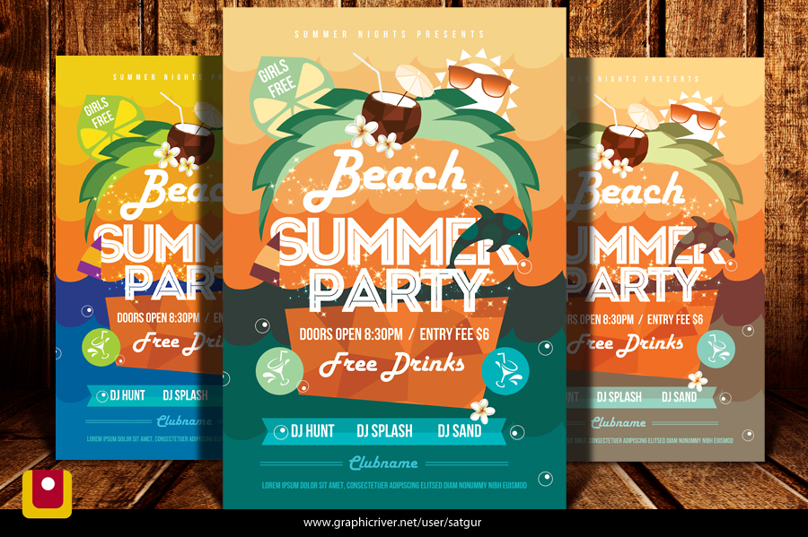 Summer Beach Party Flyer Template By Satgur On Deviantart