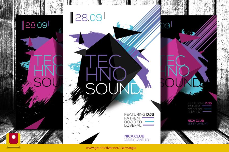 Techno Sound Flyer by satgur