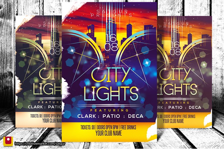 City Lights Party Flyer by satgur