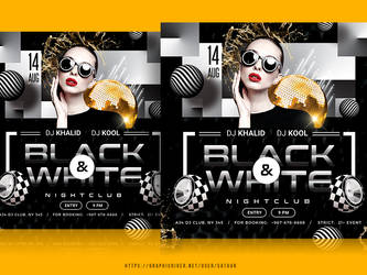 Black and white party flyer template by satgur