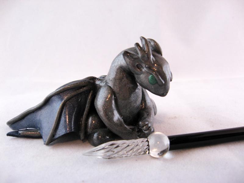 Gunmetal Dragon Pen Holder by HideyHoleInn