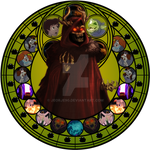 Horned King stained glass