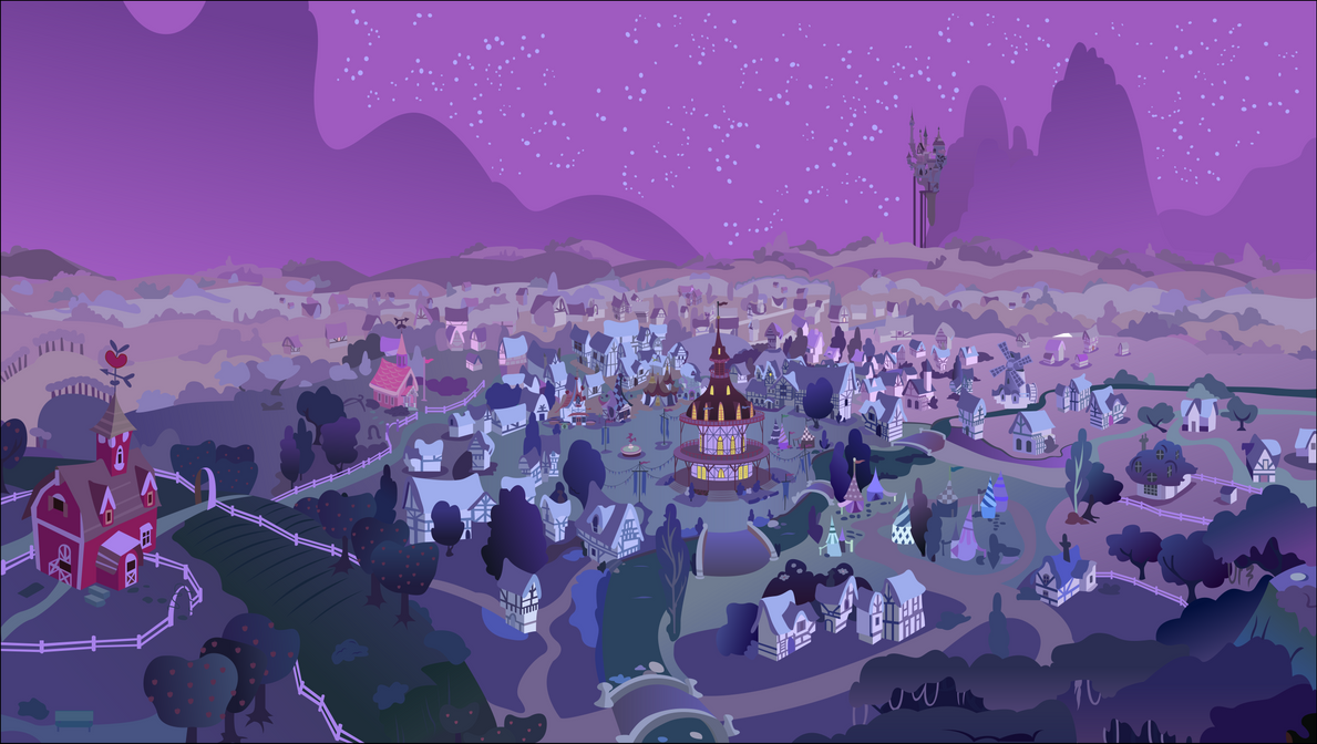 A View of Ponyville (Night) by Foxy-Noxy