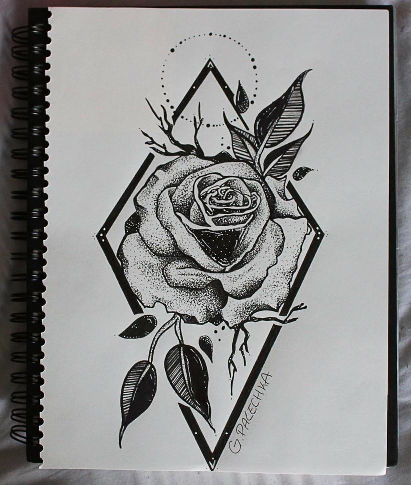Geometric rose drawing by geniapalechka on deviantart - Roses dessins ...