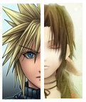 CLOUD AND AERITH HALF FACES by FFSteF09