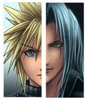 CLOUD AND SEPHIROTH HALF FACES by FFSteF09