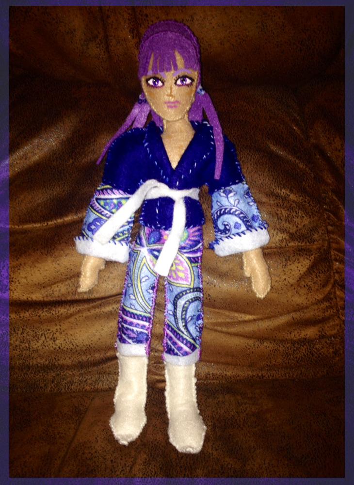 Violet hair elf feltie by broom-rider