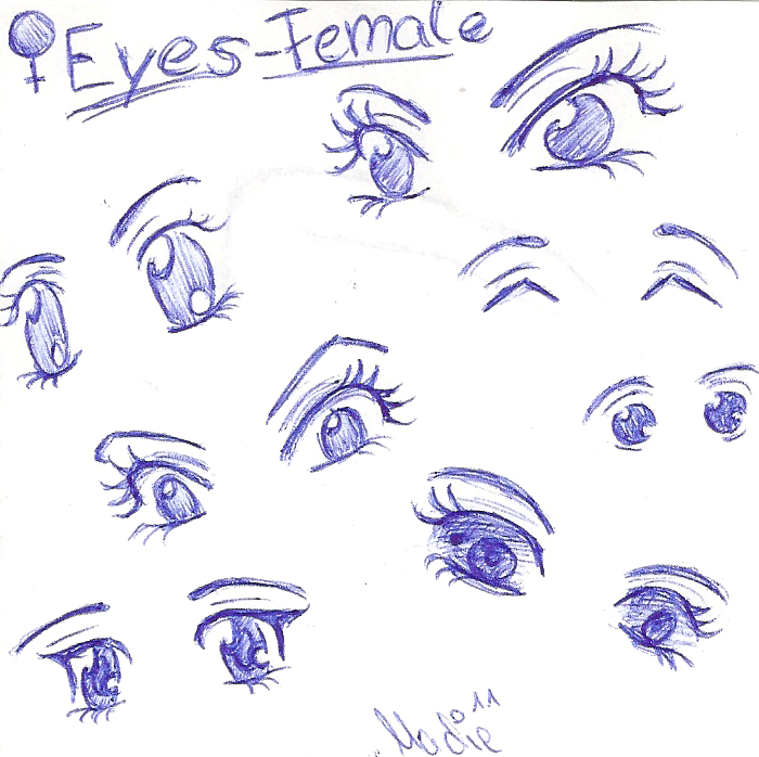 My 7 favourite ways to draw female cartoon eyes by madiedraws