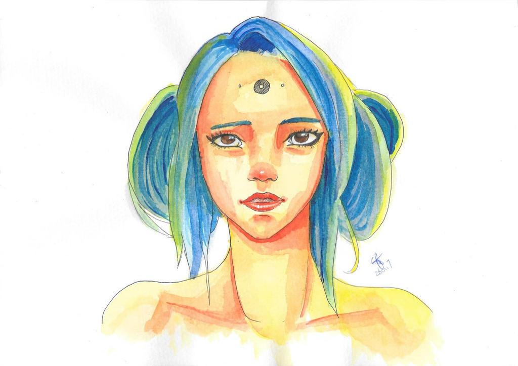 Blue hair by Catiza