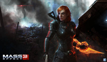 Mass Effect 3: Commander Shepard Promotional Art by NicholasKay