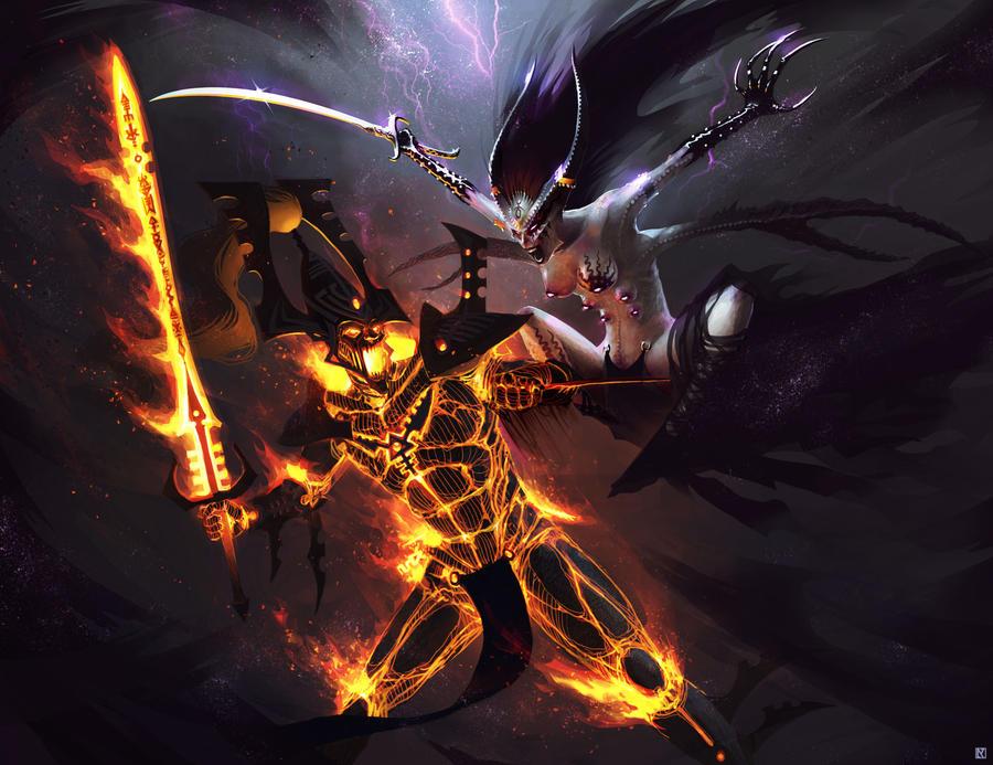 Warhammer 40,000: Avatar vs. Keeper of Secrets by NicholasKay