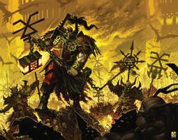 Khorne Bloodbound vs. Ogres by NicholasKay
