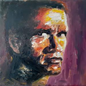 Arnold Schwarzenegger oil portrait