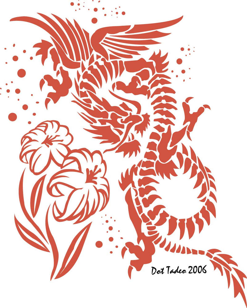 Chinese dragon magical Lotus