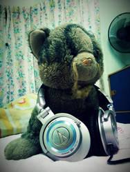 Hello, I'm a stuffed cat and I wear headphones. by acrox999