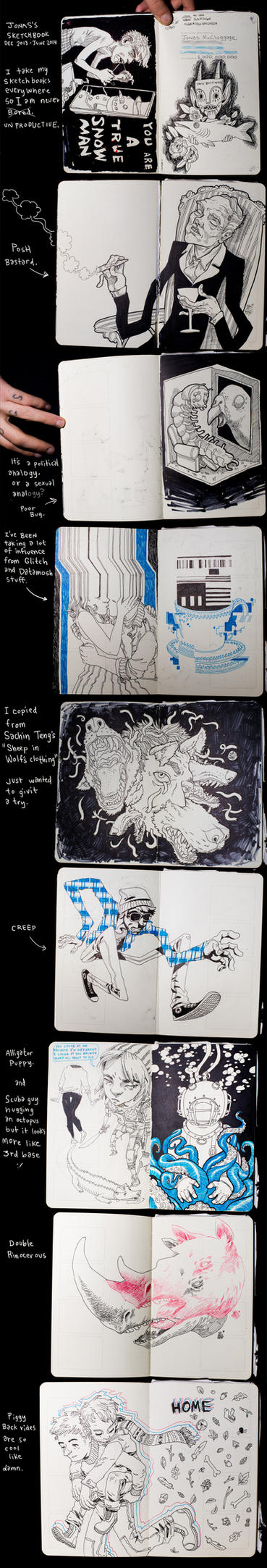 Moleskin sketches by jonasGOONFACE