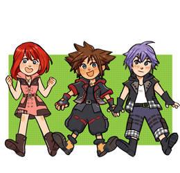 Kairi, Sora and Riku by inchells1