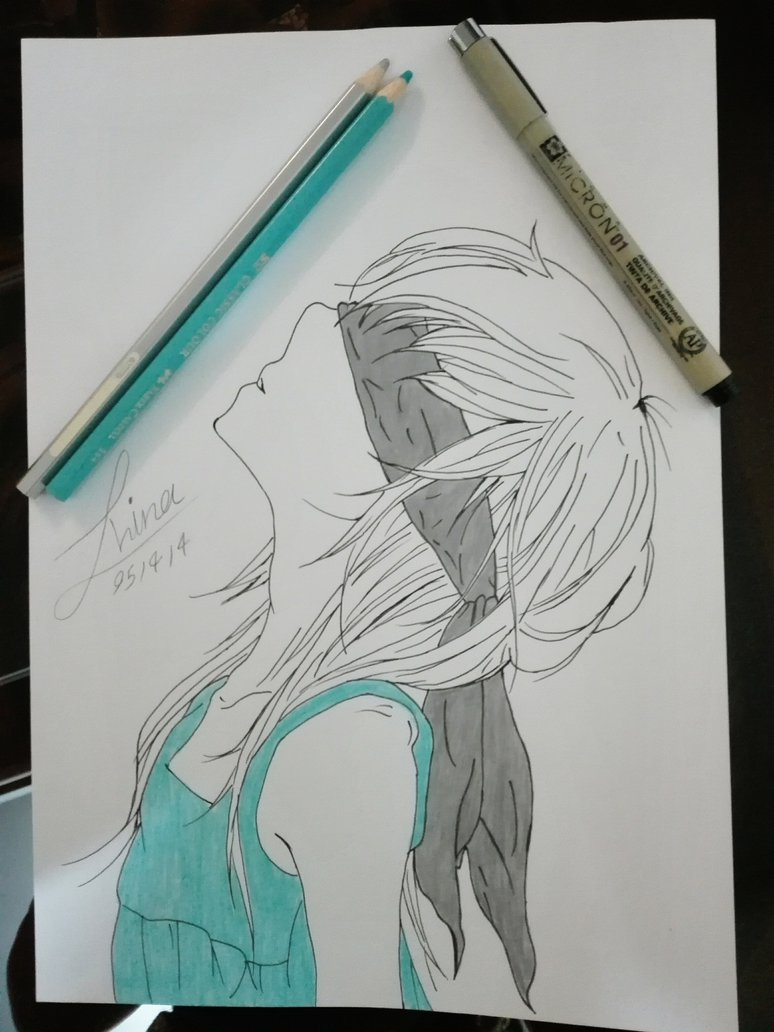 Alone girl manga drawing by hinajoon