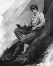 Cahir looking at his damaged boot