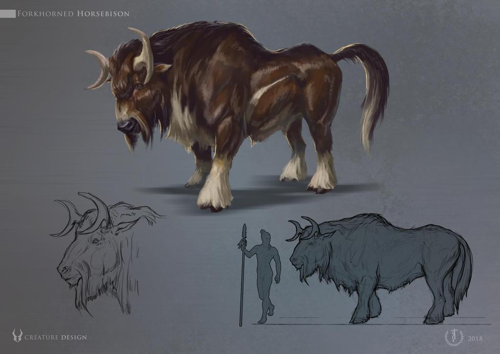Forkhorned Horsebison  Hybrid animal design