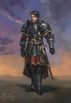 Cahir armor design, character illustration