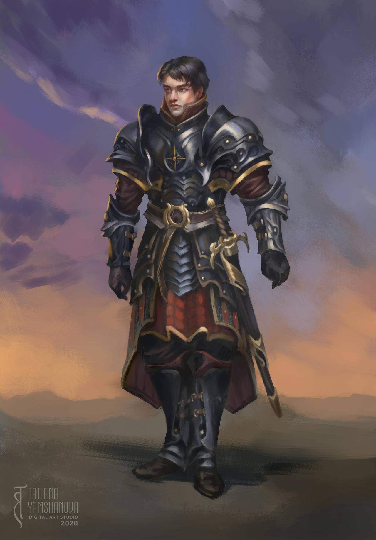 Cahir armor design, character illustration