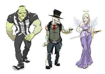Santa versus Dracula character designs by MistressMiel