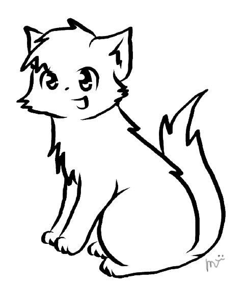 Line Drawing Kitten : Warrior cat lineart by ceruleanoasis on deviantart