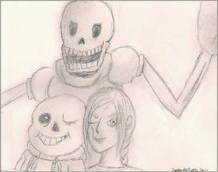 Undertale AU - Selfie with the Skelebros by Scorponis
