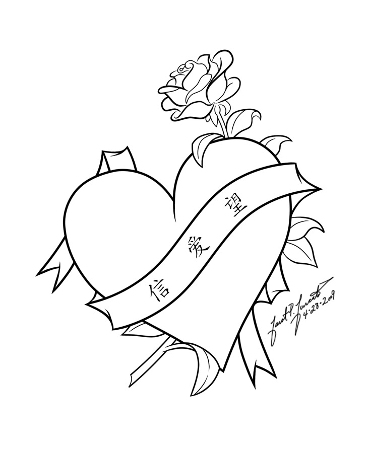 Line Art Love : Faith love hope line art by pulsedragon on deviantart