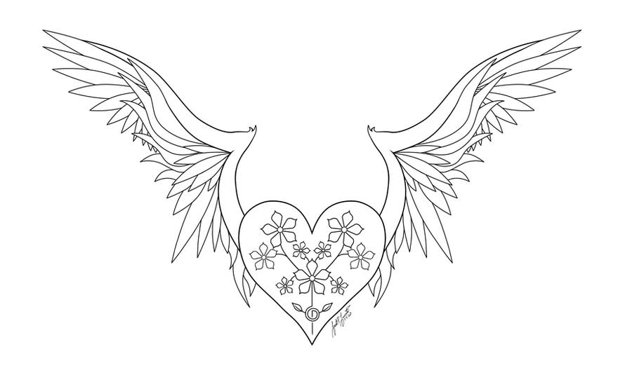 Heart with wings line art by pulsedragon on deviantart for Heart with wings coloring pages