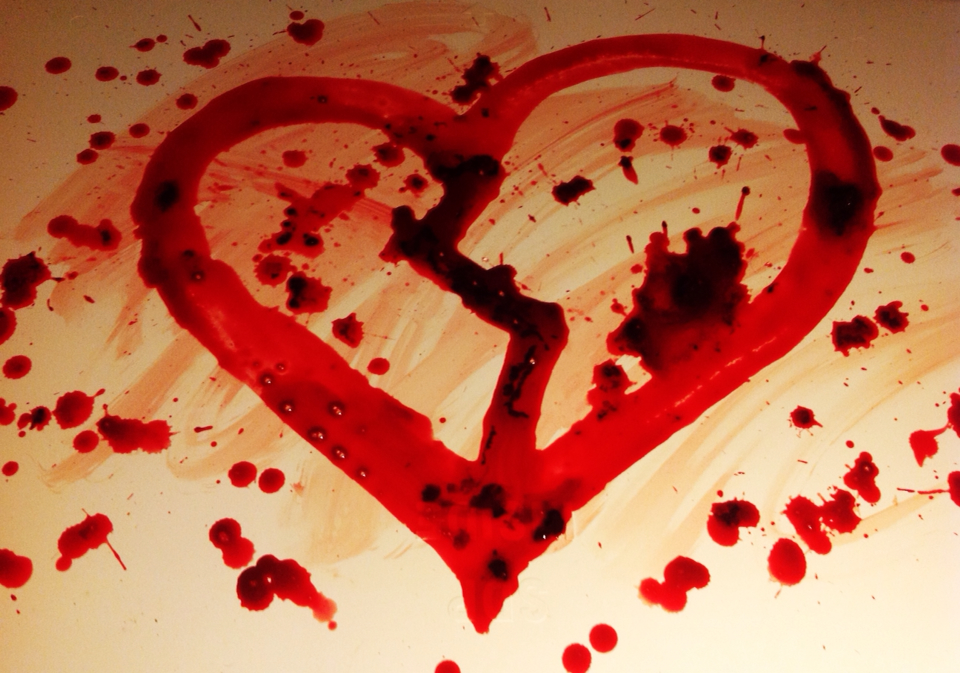 how to draw a broken heart with blood